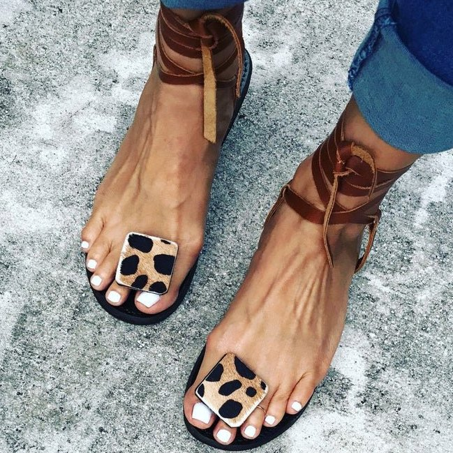 Andynzoe Sandals Casual Leopard Sandals
