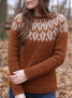 Knitted Printed Casual Crew Neck Sweater