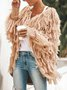 Andynzoe Long Sleeve Casual Fringed Polyester Outerwear