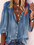 Denim Blue Long Sleeve Casual Shirts & Tops